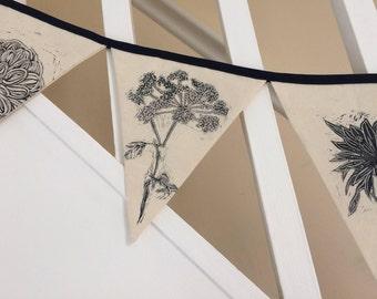 Handprinted floral bunting