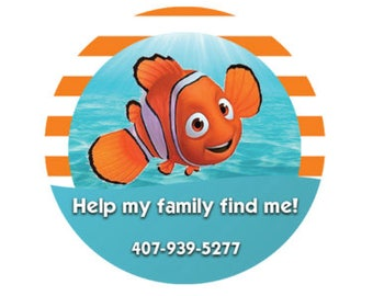 Help My Family Find Me Button - Finding Nemo Button - Identification Button - Emergency Contact Pin - I'm Lost Button