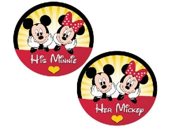 Mickey Mouse and Minnie Mouse Couples Buttons - Disney Park Pin - Theme Park Pins - Disney Couples Pins - His and Hers Buttons - Disney Pins