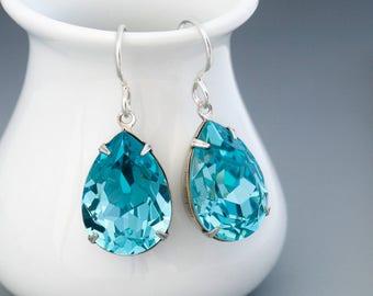 Turquoise Crystal Earrings, Swarovski Crystal Jewelry, Aqua Dangle Earrings, Turquoise Rhinestone Earrings Dangle, Silver Earrings, Gwynedd