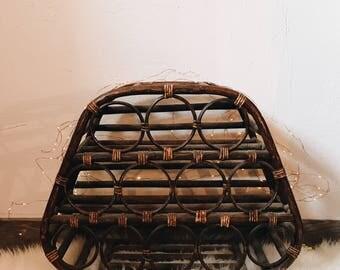 Vintage rattan bottle holder