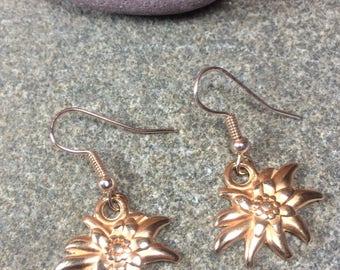 Rose gold plated earrings - edelweiss flowers