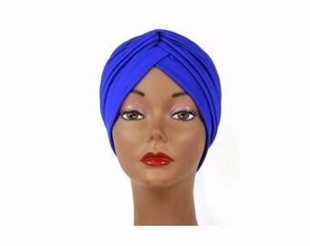 Royal Blue Turban Hat Head wrap, Handmade Turban, Twist Turban, Chemo Hat turban, Hair Loss Hat, Head Wrap, Women Turban Hat, Vintage Hat