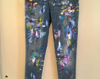 Paint-Splatter Denim Jeans: **Made to Order**