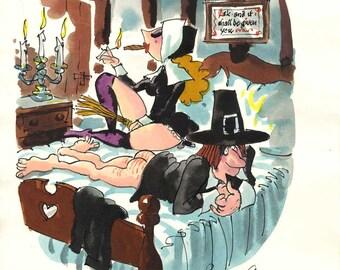 Original Playboy Preliminary Cartoon by Roy Raymonde
