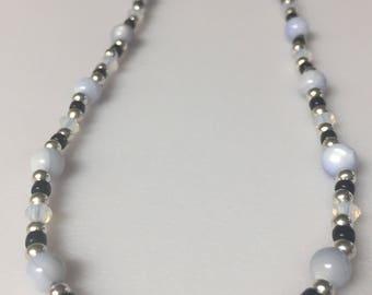 White Opal Swarovski necklace