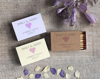 Personalised Wedding Favour Matchbox A Perfect Match Pack of 10