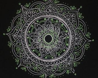 Green and White original (not print) mandala on Square Card - handdrawn - illustration - unique wall art - Spiritual art, aid for meditation