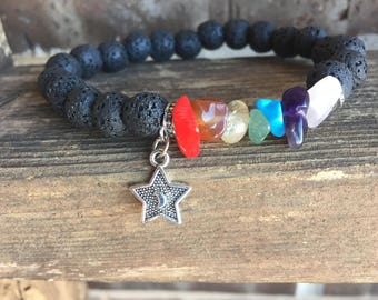 Chakra Gemstone and Lava Essential Oil Diffuser Bracelet