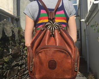 Large Luxury Italian Leather Vintage Marino Orlandi Backpack
