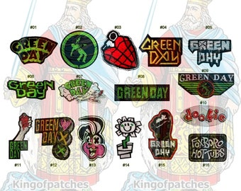 Green Day Embroidered Patches Rock Punk Band Music Album Warning Dookie 21st Century Breakdown Kerplunk Flower Gold Logo Word American Idiot