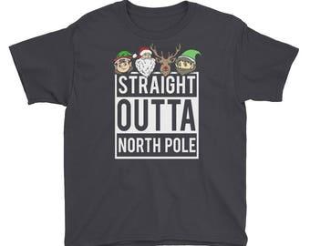 Kids Christmas Shirt - Straight Outta North Pole - Funny Christmas Shirts - Christmas Outfit - Xmas Shirts