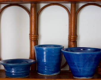 Handmade Ceramic Dishes, set of three, Midnight blues