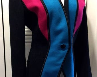 40's Fitted Color Block Jacket