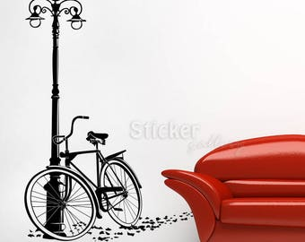 Bike wall sticker, vinyl wall decal sticker, living rooms wall decoration, eco removable vinyl with ISO 14001, easy to install.