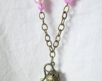 Necklace cat pink beads