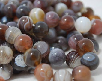 """High Quality Grade A Natural Botswana Agate Semi-precious Gemstone Round Beads - 4mm, 6mm, 8mm, 10mm sizes - Approx 16"""" strand"""