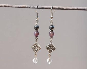 Amethyst Hematite Dangle Earrings