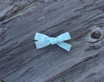 Baby Blue - OLIVIA style- velvet headband - clip - newborn baby bow - piggy set - Hand tied - toddler- girl  - infant - school girl