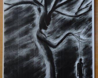 Original Art Print,The Hanging Man, Haunting Tree, Pariedolia,Pariedolia Art,Dark Art,Haunting Tree,Creepy Art,Dark Surrealism,macabre