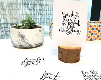 Inspirational Quote Card Set +/- rustic stand