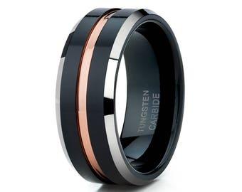 Men's Wedding Band Tungsten Wedding Band Black Tungsten Ring Tungsten Carbide Men & Women Brush Black Ring Comfort Fit