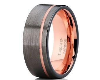 Gunmetal Tungsten Wedding Band Grey Tungsten Ring Black Tungsten Ring Men & Women Anniversary Tungsten Ring Engagement