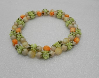 Vintage Beaded Floral Necklace - Made in Hong Kong