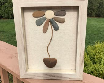 Pebble art flower- rock art, stone art, customized wall art, pebble art family, unique, anniversary wedding gift, personalized,