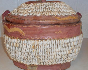 LAST TIME REDUCED!!! Rare Handmade African Tribal Wedding Basket Leather with Cowrie Shells