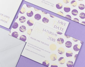 Polka Dot Chic Purple Save the Date