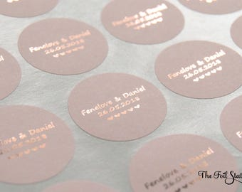 Rose Gold Wedding Stickers, Foil Wedding Stickers, Blush Personalised Favour Stickers, Wedding Favor Labels, Custom Wedding Stickers, 37mm