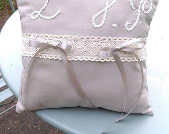 personalized wedding ring cushion.