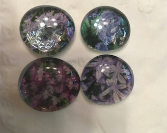 Blooms of Blue and Purple  Set of 4 Marble Gem Magnets