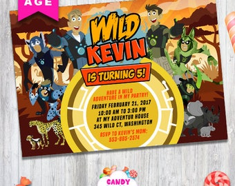 Wild Kratts birthday invitation, Wild Kratts, printable party, Wild Kratts party cards,Wild Kratts party, personalized, CANDY-027
