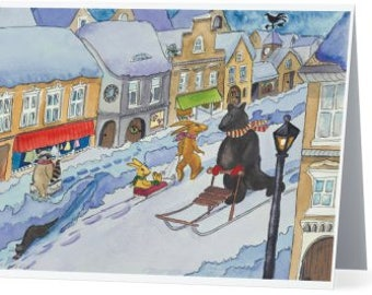 Notecard: Winter City Scene