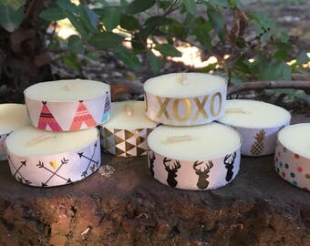 Boho Variety Tea Light Candles, Mix and Match, VERY scented, Gift, Deer, Tee Pee, Pineapple, Arrows, Gold