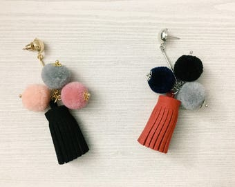 Pompom Tassel Earrings, ball earrings, pom pom earrings, tassel earrings, dangle earrings, drop earrings, winter jewelry, Christmas gift