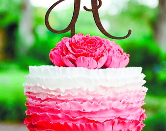 Letter H Wedding Cake Topper Rustic monogram cake topper wedding Cake Topper Initial cake topper Single Letter B T cake topper Wood monogram