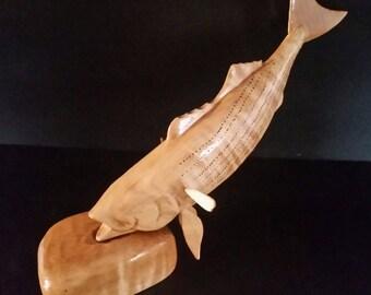 Carved striper, wood striper, carved Striped Bass, carved bass