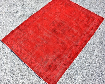 Oushak Rug 6.9 x 10.1 ft Area Rug. Anatolian Turkish Vİntage Rug İn Red Color. Overdyed Rug .Low Pile Rug. Decorative Rug.Tribal