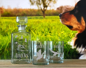Personalized Hunter Whiskey Glasses & Decanter Set, Gifts for Men, Whiskey Decanter, Barware, Engraved Decanter Set, Hunting Dog