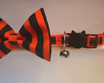 "Halloween Cat Collar with Bow Tie - ""Halloween Stripe"" - Breakaway Cat Collar / Kitten Collar"