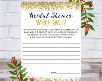 Who Am I, Bridal Shower Game, Printable, Bachelorette Party, Cards, Size 5x7, Gold Confetti, Instant DIGITAL DOWNLOAD