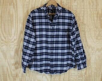 Vintage 1990's Consensus Blue / White Cotton Flannel Tartan Plaid Button Down Shirt L / XL