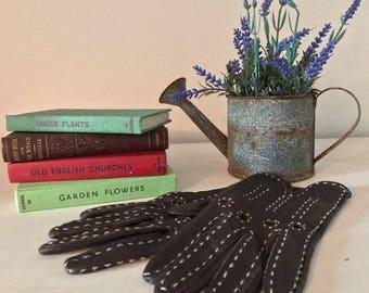 Vintage small/medium brown leather ladies gloves