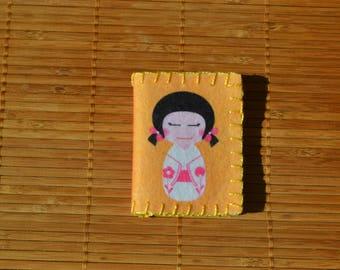 """Pincushion pink and orange """"Japanese Doll"""""""