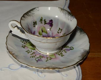 SHAFFORD, Hand Painted, Shafford, Teacup, and saucer, Purple Flowers, Gold Rimmed, Japan, Vintage, embossed pattern