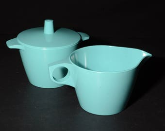 Vintage, Dorchester, Melamine, Turquoise, Creamer and Sugar Bowl with Lid, Dorchester Dinnerware, Turquoise, Hard Plastic, by Cyanamid