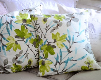 BLUE | Green | Grey | Floral Pillow Cover.Decorator Pillow Cover.Home Decor.BRAEMORE Gazebo Cloud.Cushions.Cushion.Pillow.